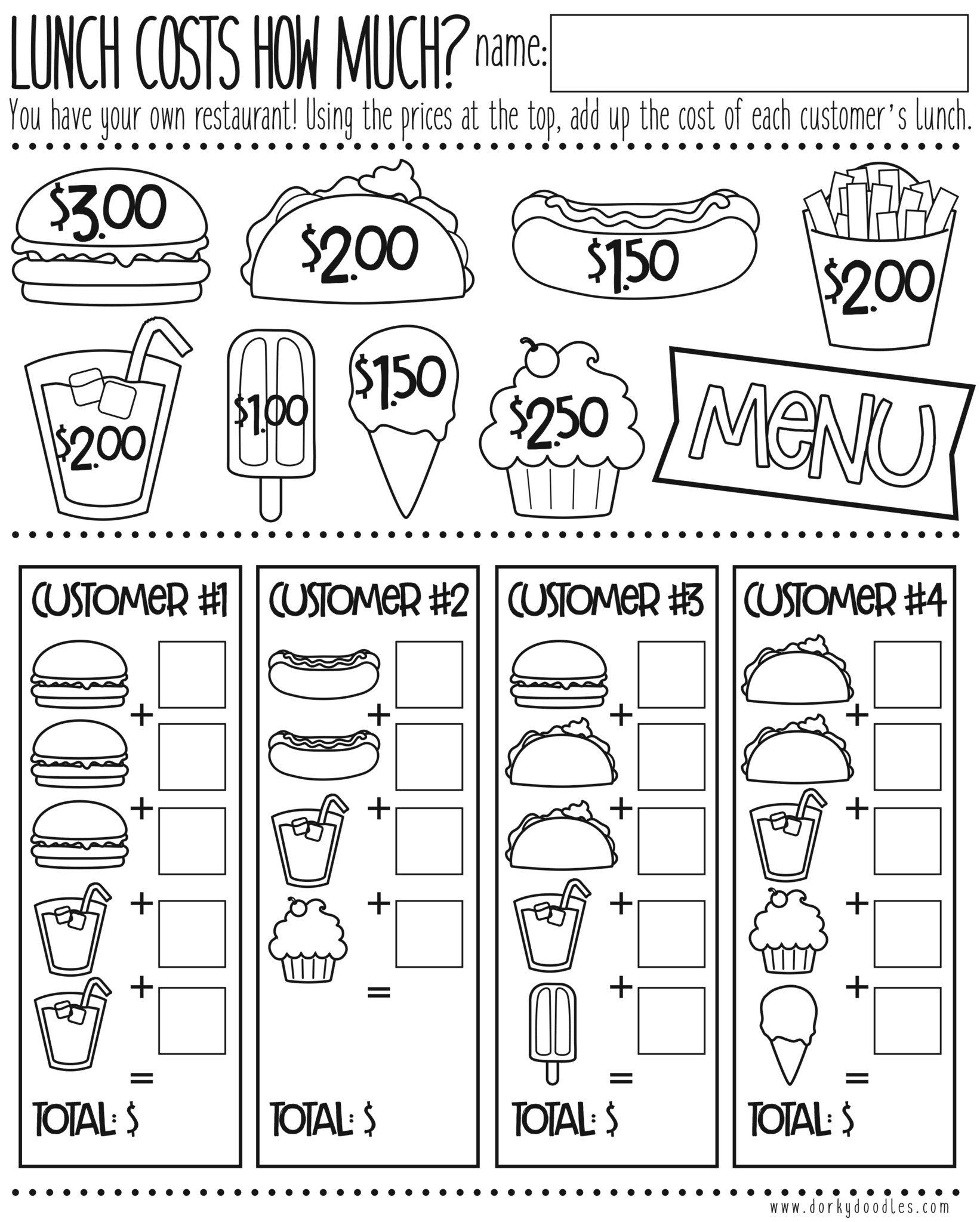 medium resolution of Money Math Practice - How Much Does Lunch Cost?   Money math