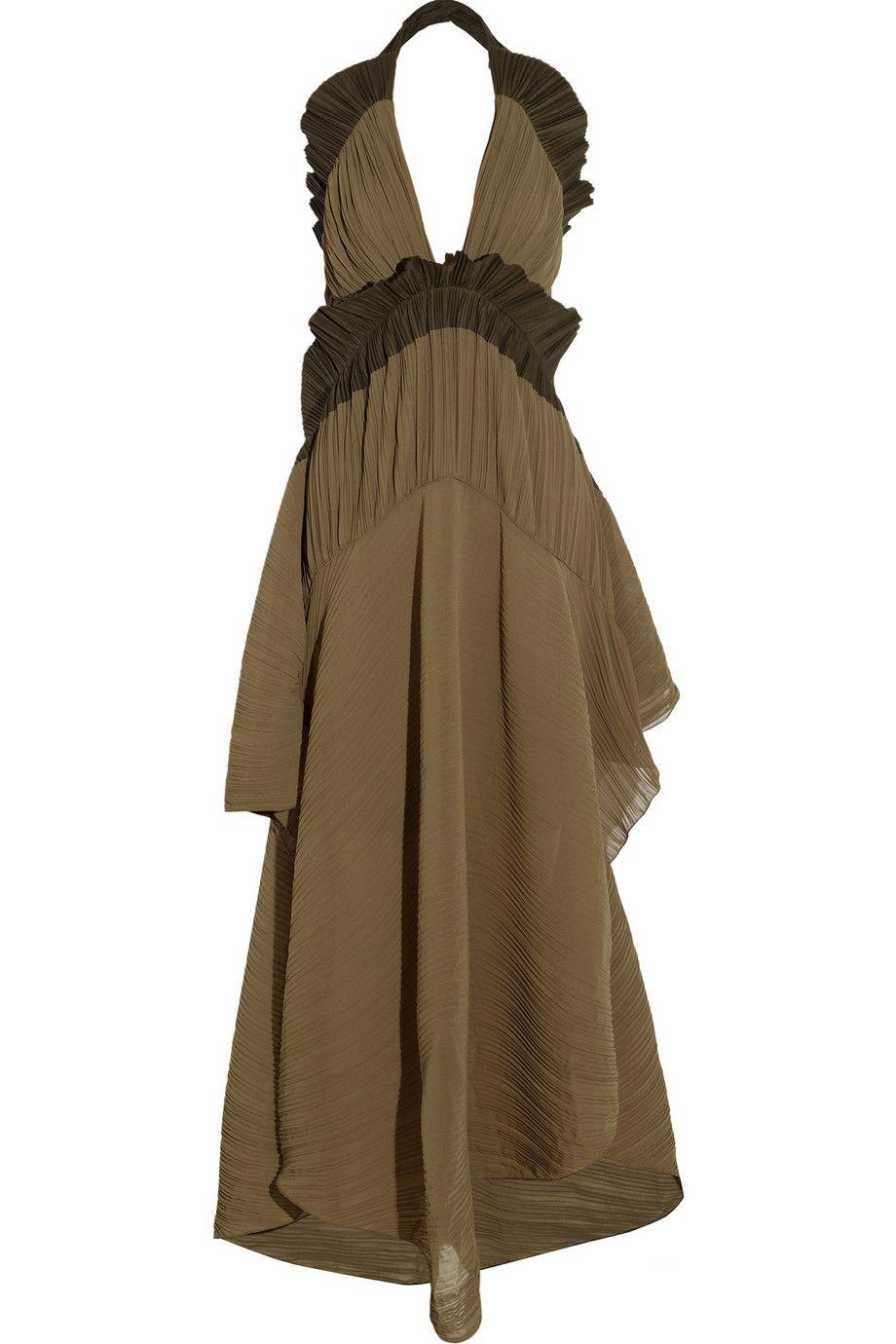 Chloé|Plissé georgette maxi dress|NET-A-PORTER.COM