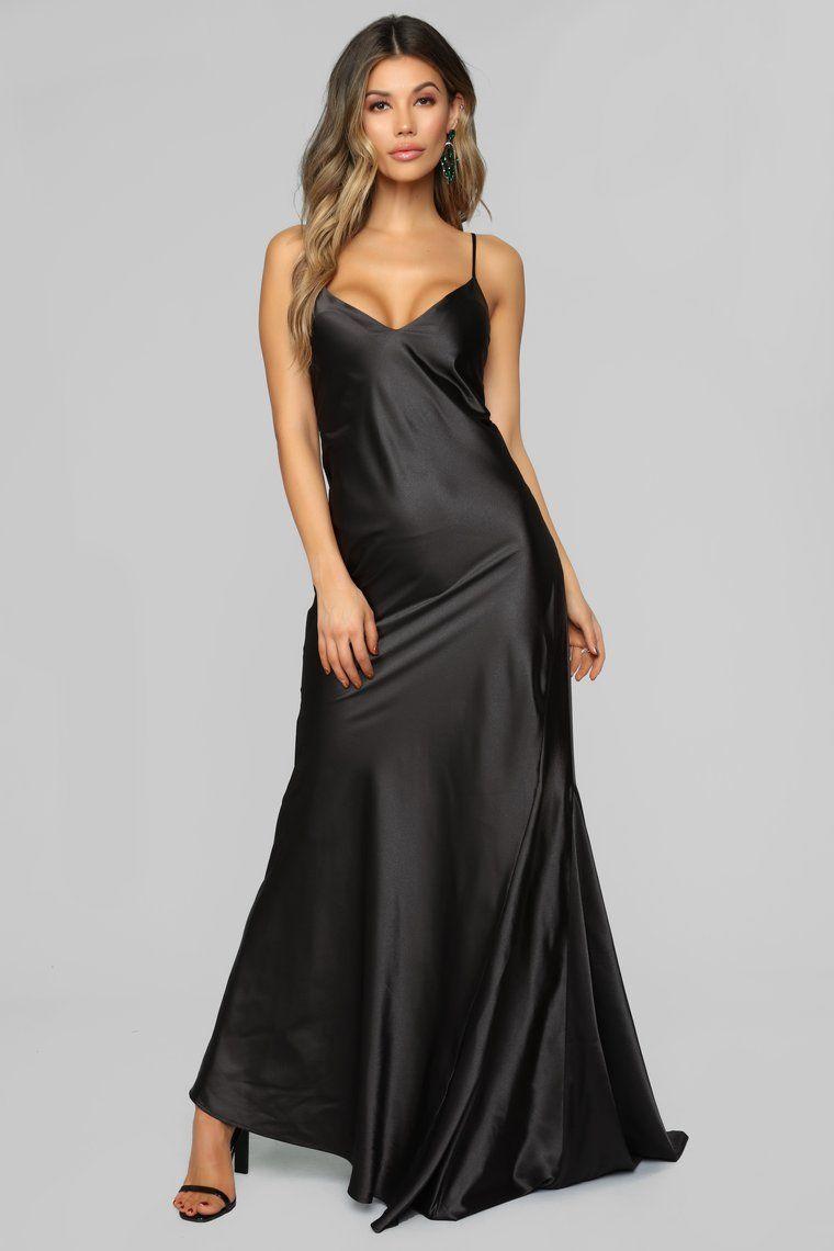 917b06e81c20d Figure Hugging Satin Maxi Dress - Black in 2019 | Beautiful Satin ...