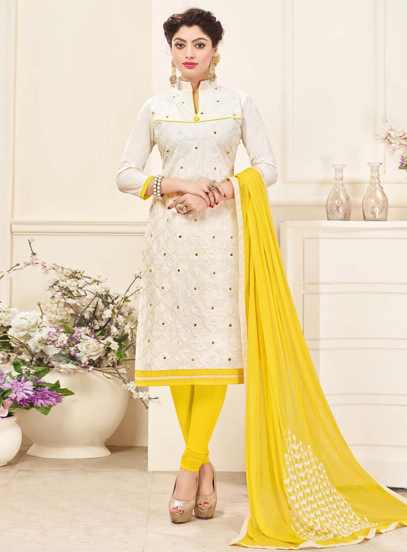 7370b7b286 White Cotton Kameez With Churidar 116865 | India clothing | Salwar ...