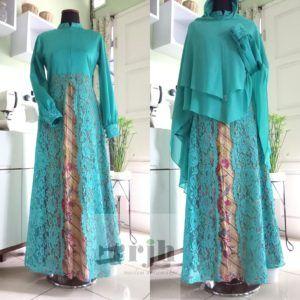 Gamis Batik Kombinasi Brocade Ibu Chitra Rumah Jahit Haifa Mode