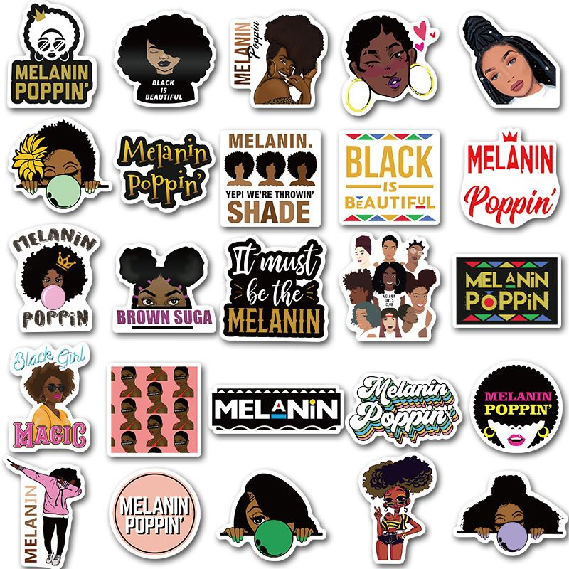Melanin Poppin Stickers Melanin Poppin Girl Stickers Skateboard Stickers
