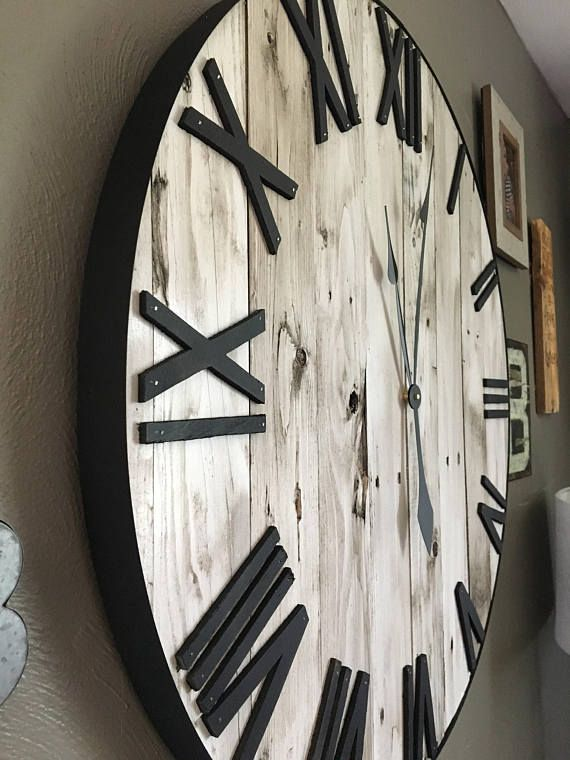 30 Large White Farmhouse Pallet Clock Oversized Wooden Etsy Rustic Wall Clocks Wall Clock Oversized Wall Clock