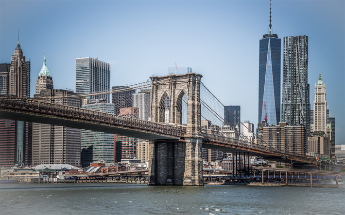 Lataa kuva Brooklyn Bridge, New York, World Trade Center 1, East River, Manhattan, USA