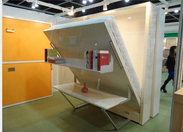 Glatte weiße Murphy-Schrankbett-Raumersparnis-modernes Klappbett mit Bücherregal