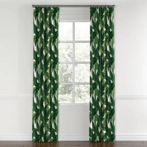 Green Banana Leaf Curtain Ring Top Leaf Curtains Curtains With Rings Curtains