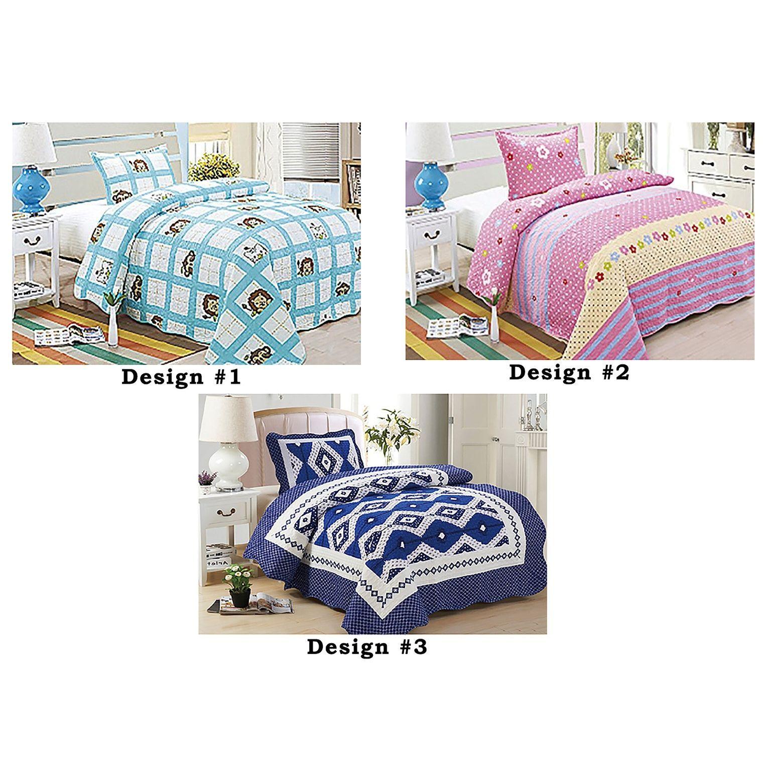 2PCS Size Color Modern Floral Geometric Bedspread Quilt