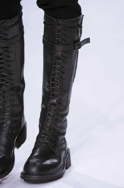 Ann Demeulemeester tall black leather front laced combat boots runway  fashion