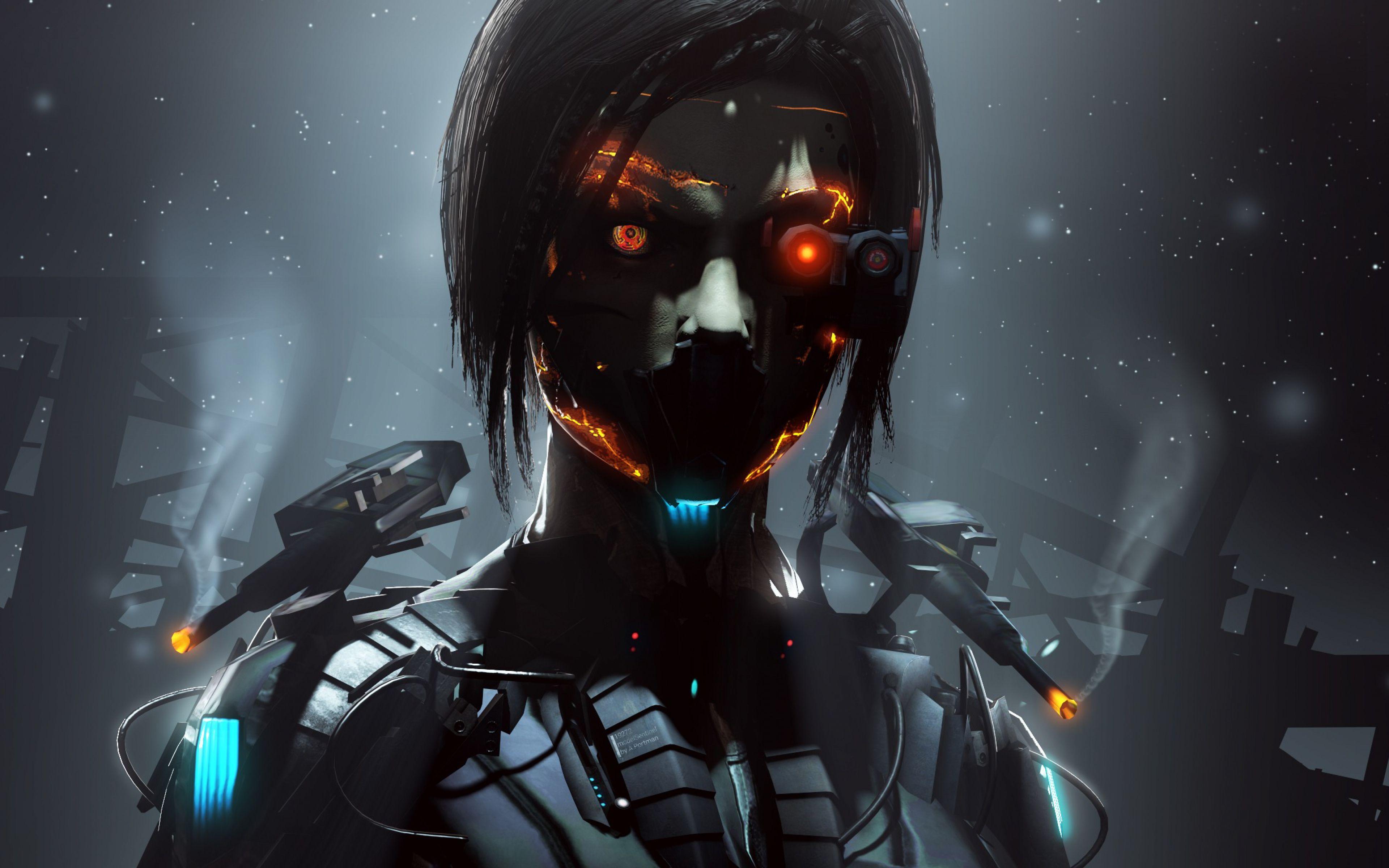 Girl robot cyborg orange eyes dark wallpapersbyte com - Robot wallpaper 3d ...