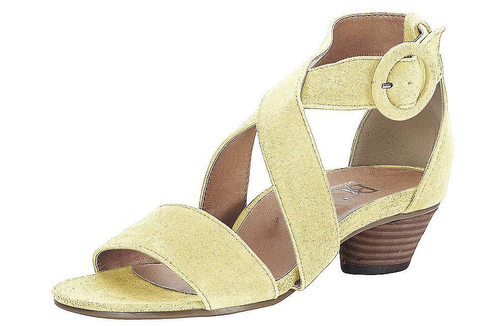 Sandales à brides en cuir, petit talon de 3,5 cm...