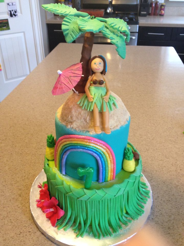 Luauhawaiian Birthday Cake Hula Girl Palm Tree Pineapple Grass