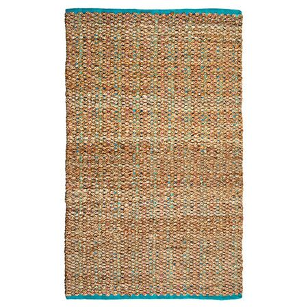 Featuring aqua accents, this hand-woven jute and cotton rug adds a coastal-chic touch to your den or dining room.  Product: Rug