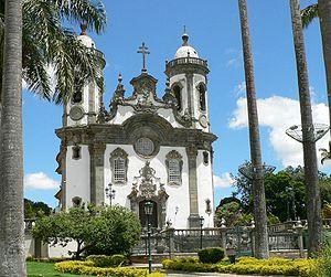 """ALEIJADINHO. """"Igreja de São Francisco de Assis"""" em São João del-Rei, projeto de Aleijadinho modificado por Cerqueira"""