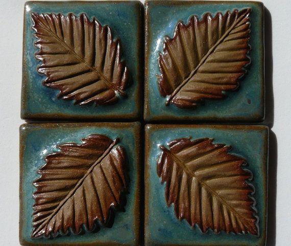 Ceramic Leaves FOUR Ceramic Tiles Inch X Stoneware Carved - 2 x 2 inch ceramic tiles