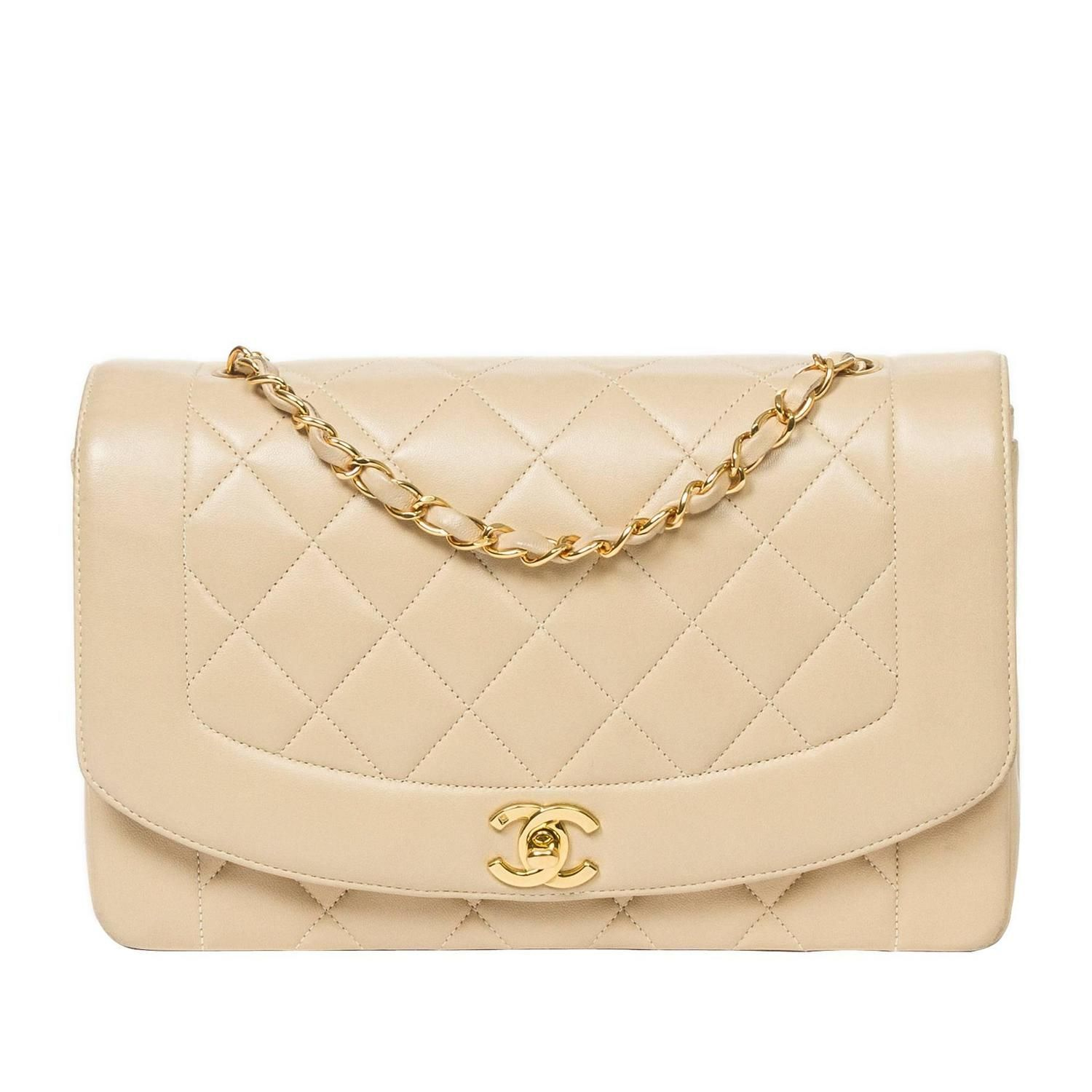 Chanel Vintage Mademoie Flap Beige Quilted Leather 1990