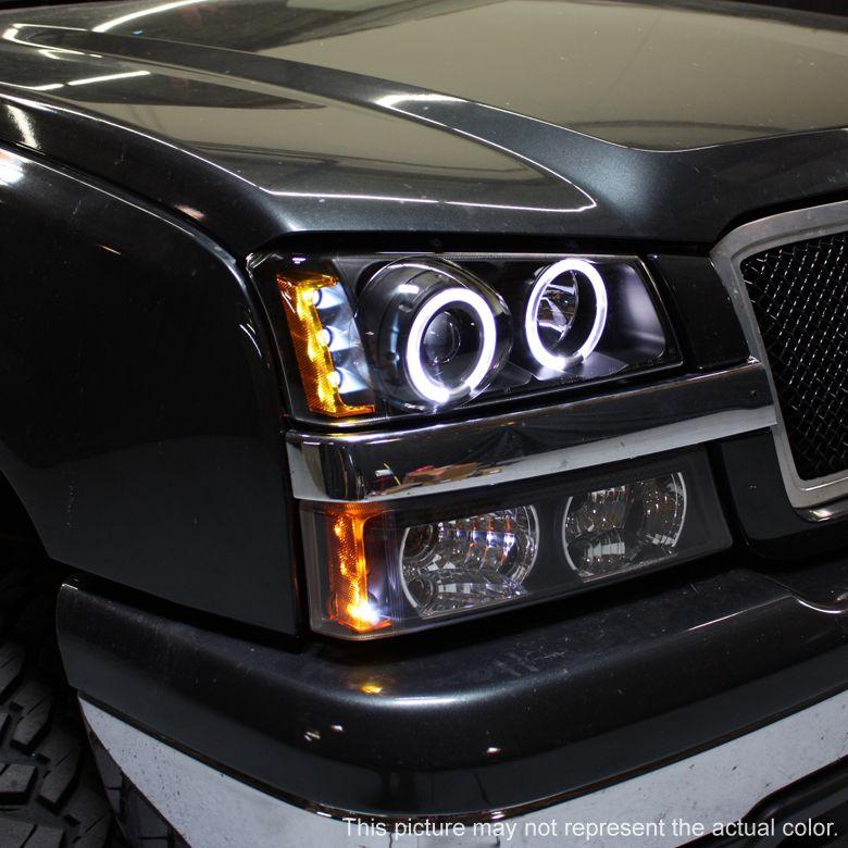 03 06 Chevy Silverado Led Twin Halo Projector Black Head Lights Smoke Fog Lamps Chevy Silverado Chevy 2006 Chevy Silverado