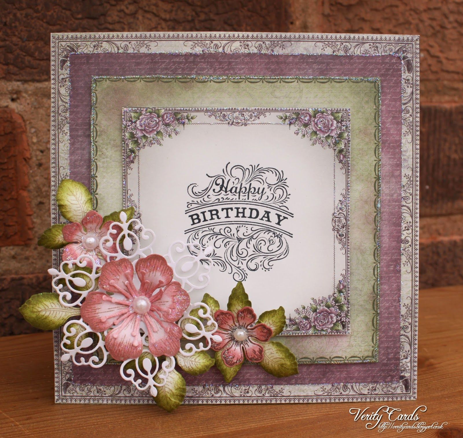Card made using papers from the Raindrops on Roses collection and flowers from Arianna Blooms from Heartfelt Creations. Made by Liz Walker.