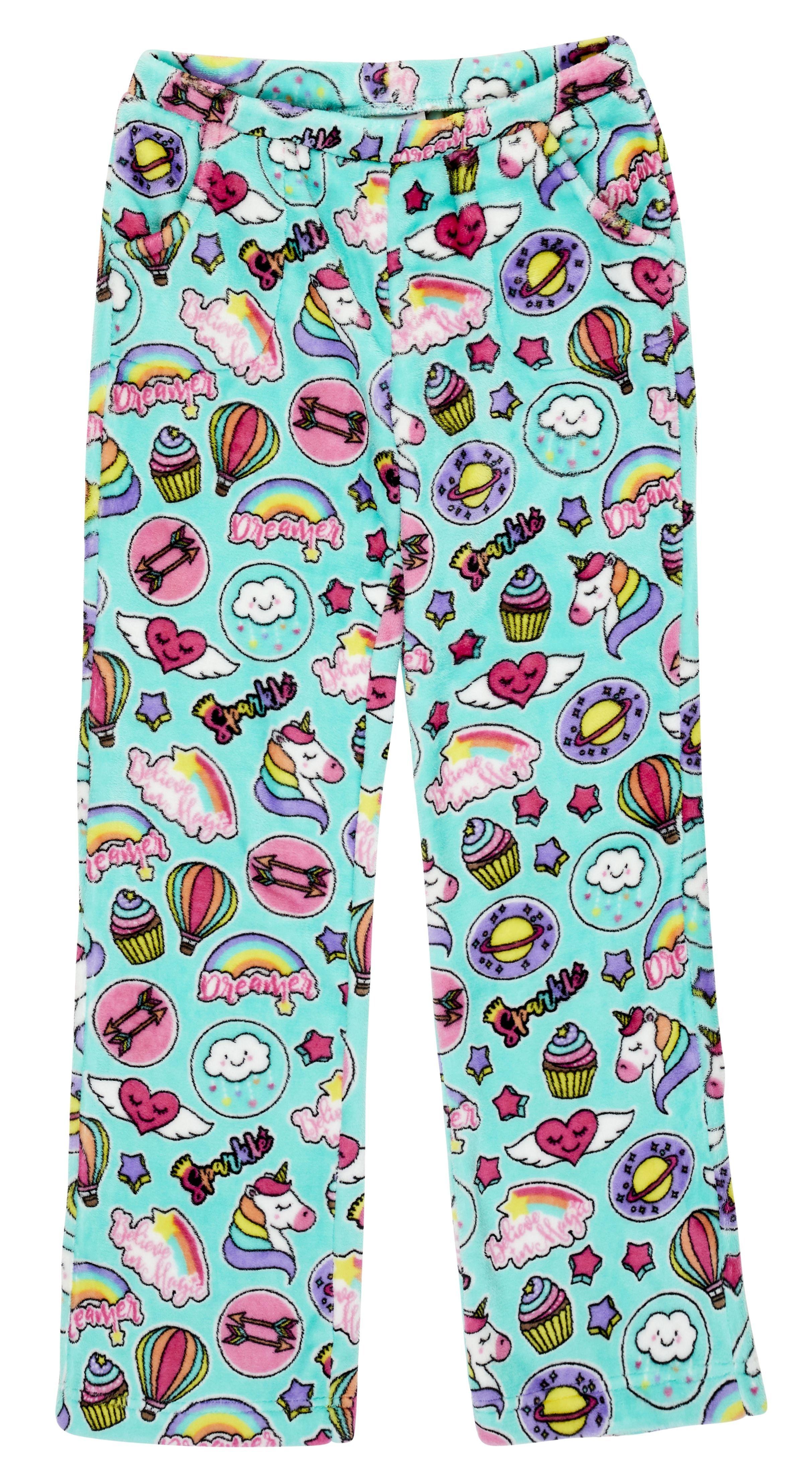 Candy Pink Girls Plush Pajama Pants