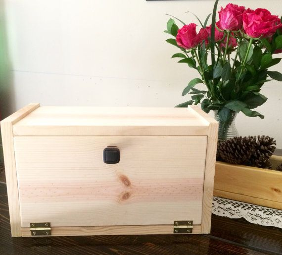 Unfinished Wooden Breadbox Bread Holder Bread Box Kitchen Decor