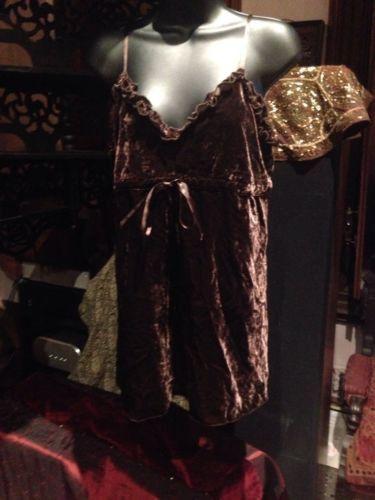 Nemesis Vintage Brown Silk Velvet Gothic Camisol Shirt Blouse