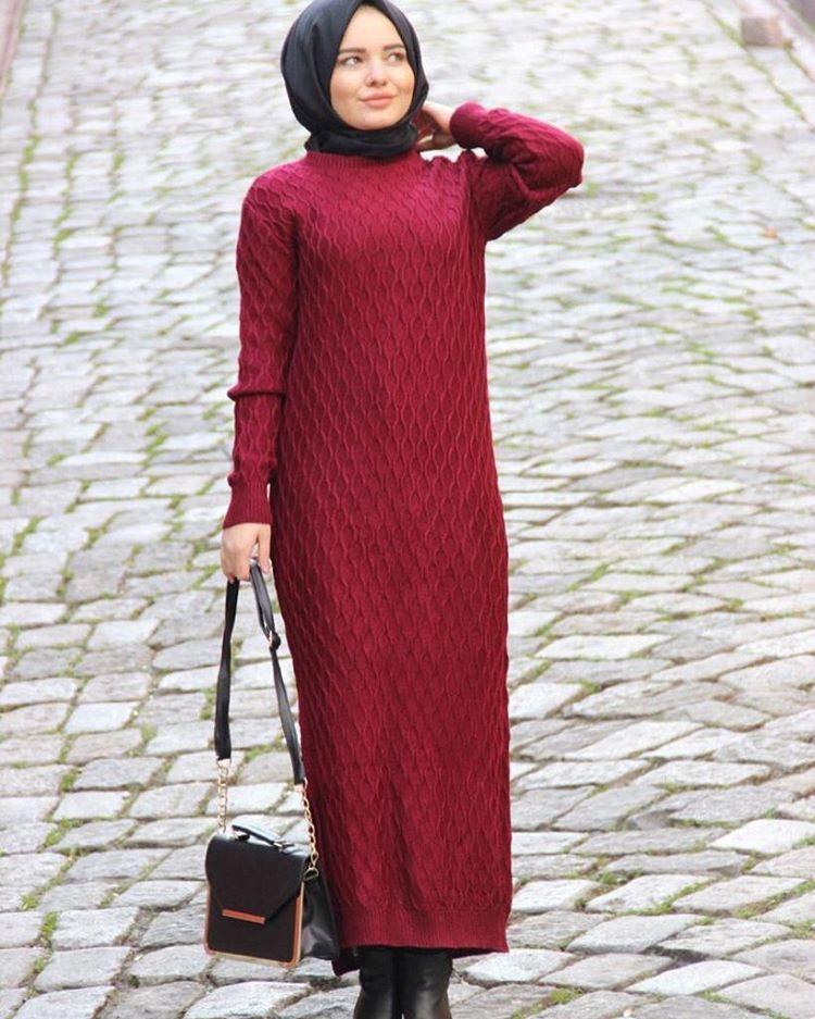 Tesettur Uzun Triko Kazak Modelleri Triko Kazak Elbise Moda Stilleri