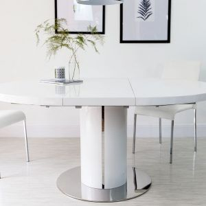 White High Gloss Round Extending Dining Table