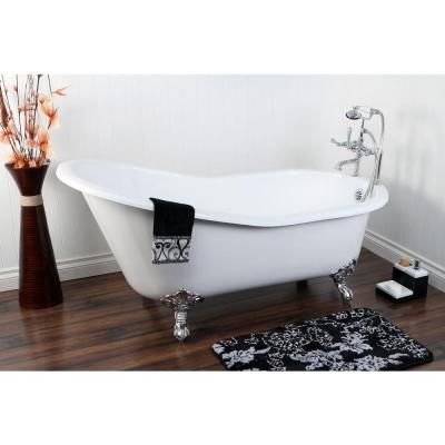 Aqua Eden 5 Ft. Cast Iron Polished Chrome Claw Foot Slipper Tub With 7 In.  Deck Holes In White