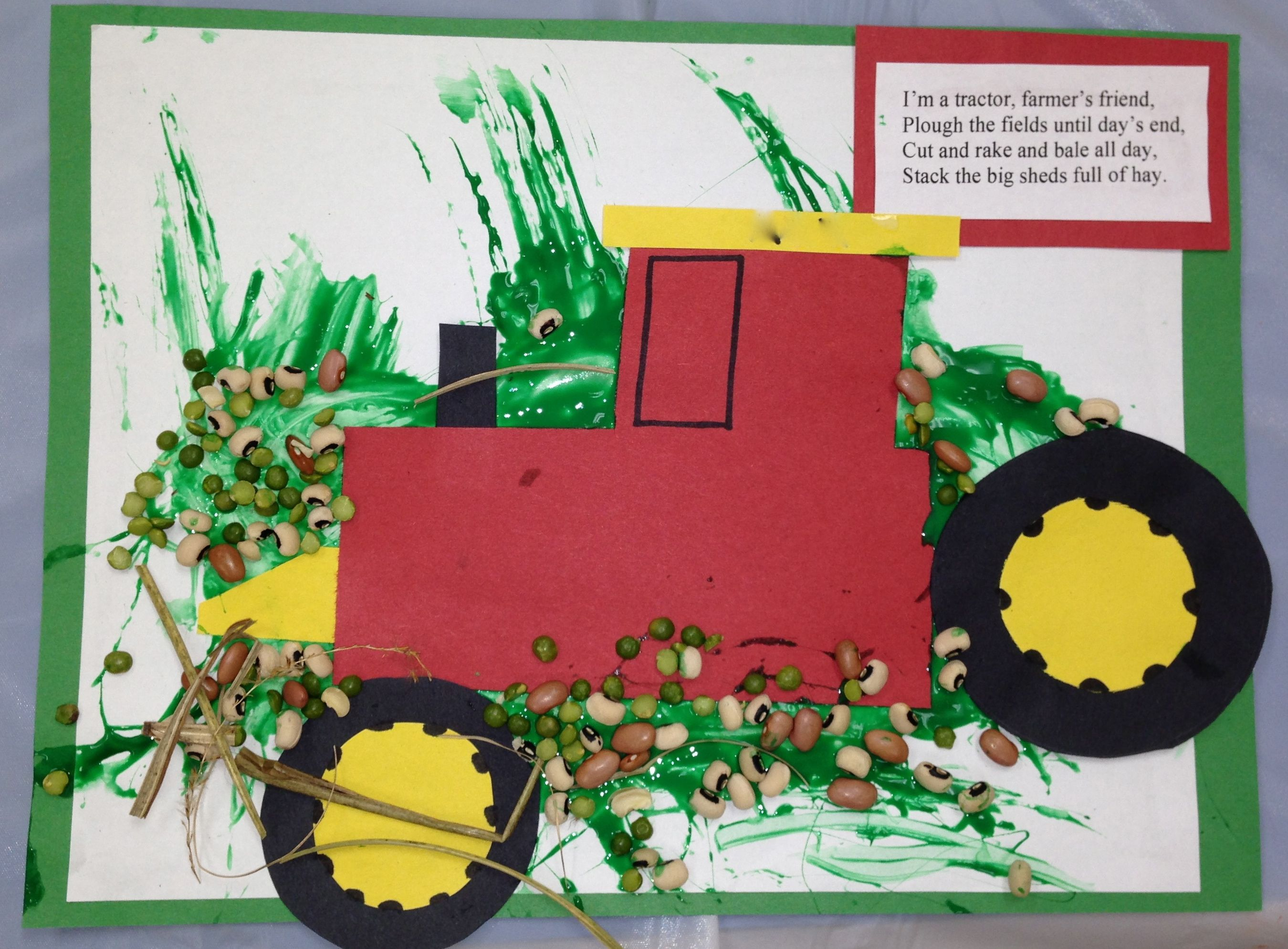 Tractor craft have the kids paint paper first glue and for Tractor art projects