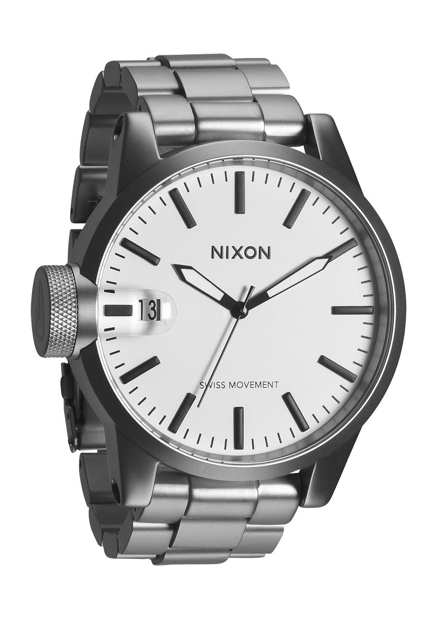 Nixon Chronicle SS Watch - Sanded Steel/White - Online-Shop