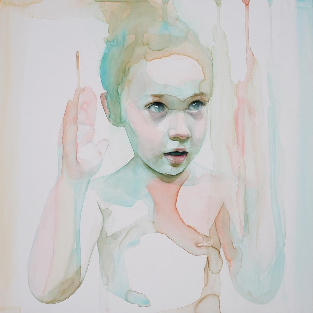 """this painting is at @goldgalleryboston (20 x 16 inches ) #watercolor #painting #artsy #art #face #drips #angel #hands #alicavanaugh"""