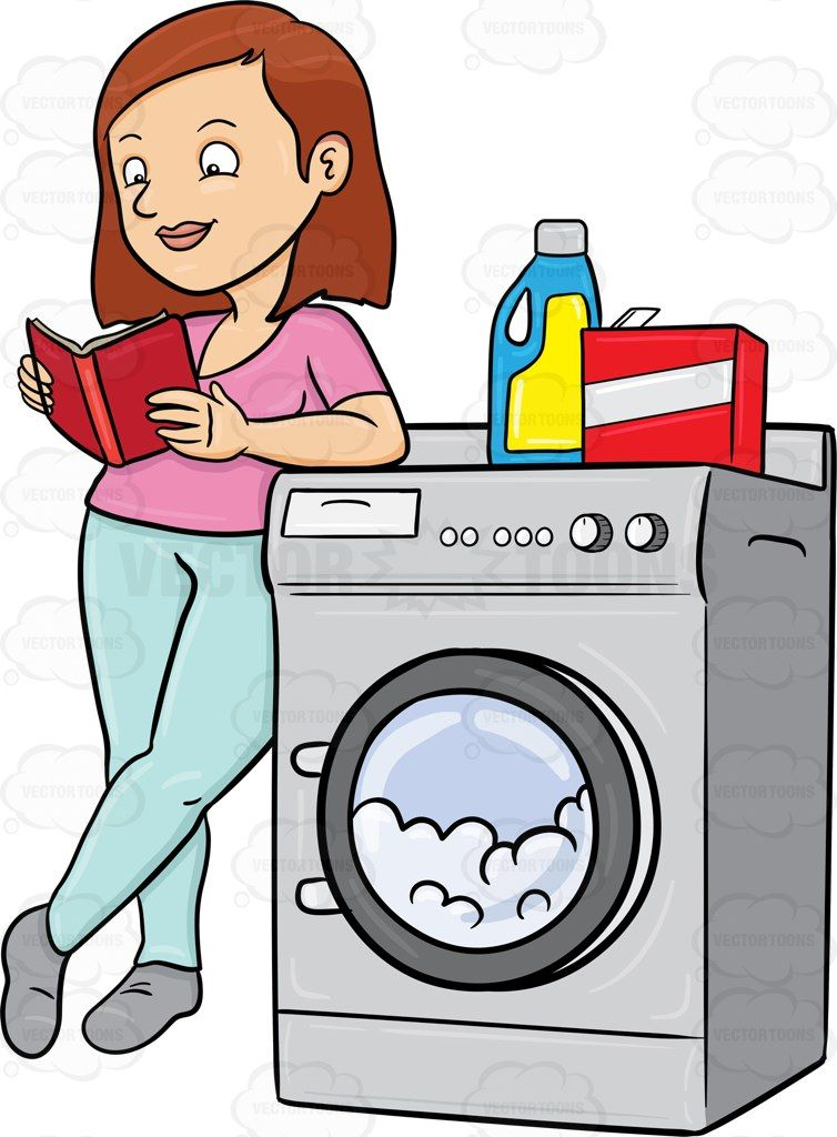 a woman kills time by reading a book while waiting for her laundry rh pinterest com laundry clipart vector laundry clip art free