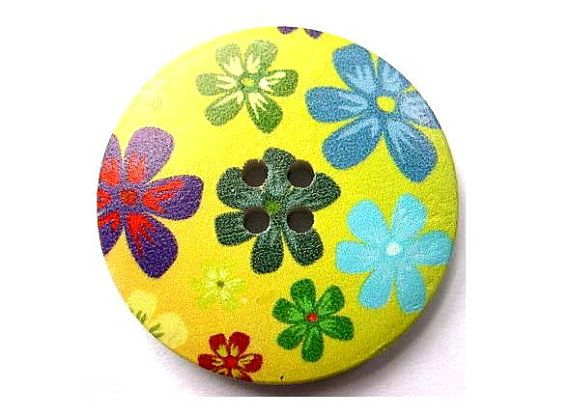 3 Buttons, wood, 40mm, green with flowers picture, for crafts, button jewelry