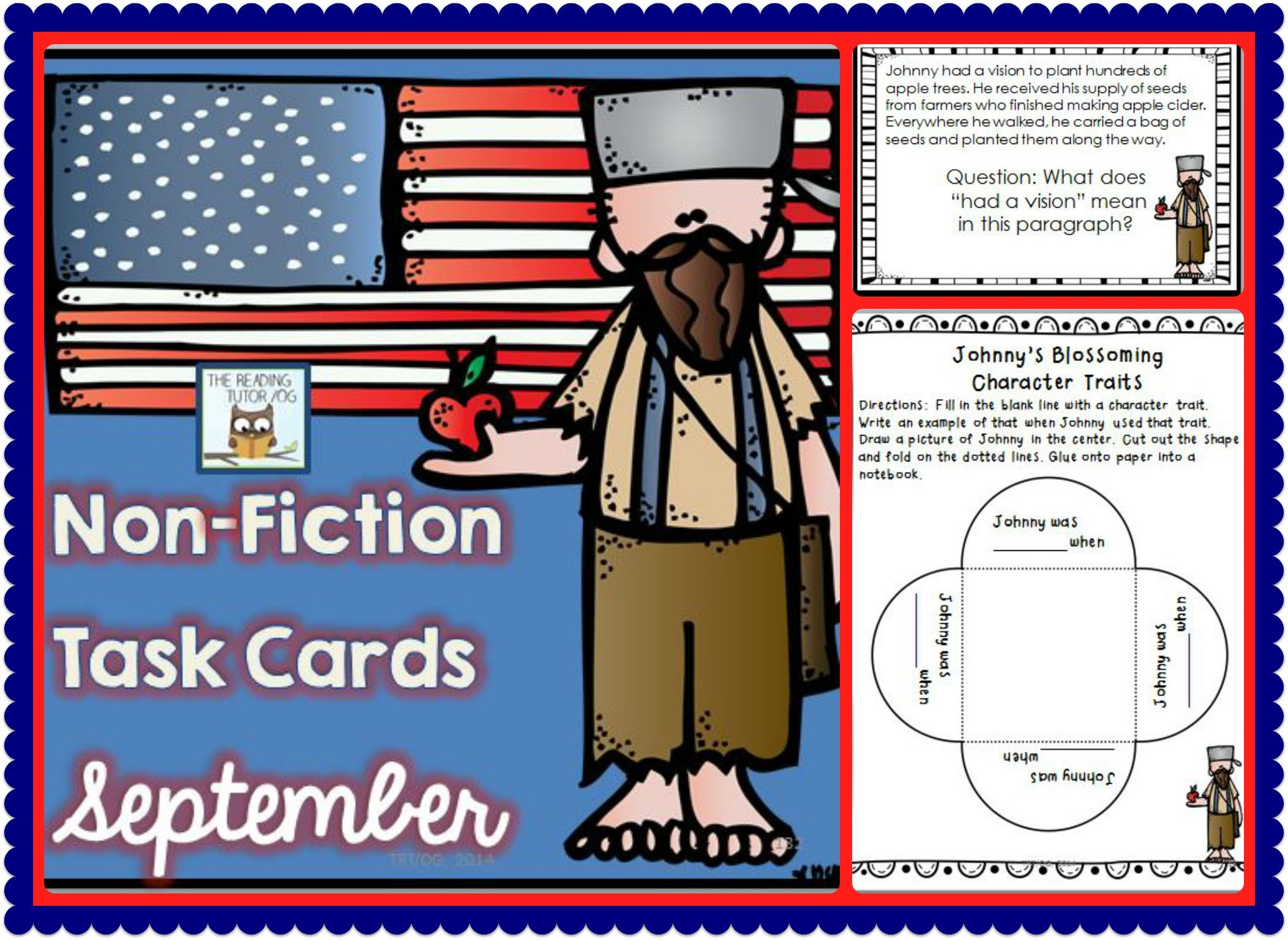Johnny Appleseed Task Cards Literacy Center Non Fiction