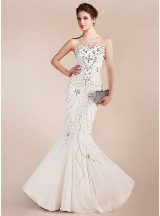 Trumpet Mermaid Sweetheart Floor Length Chiffon Prom Dress With Beading 018018910 g18910
