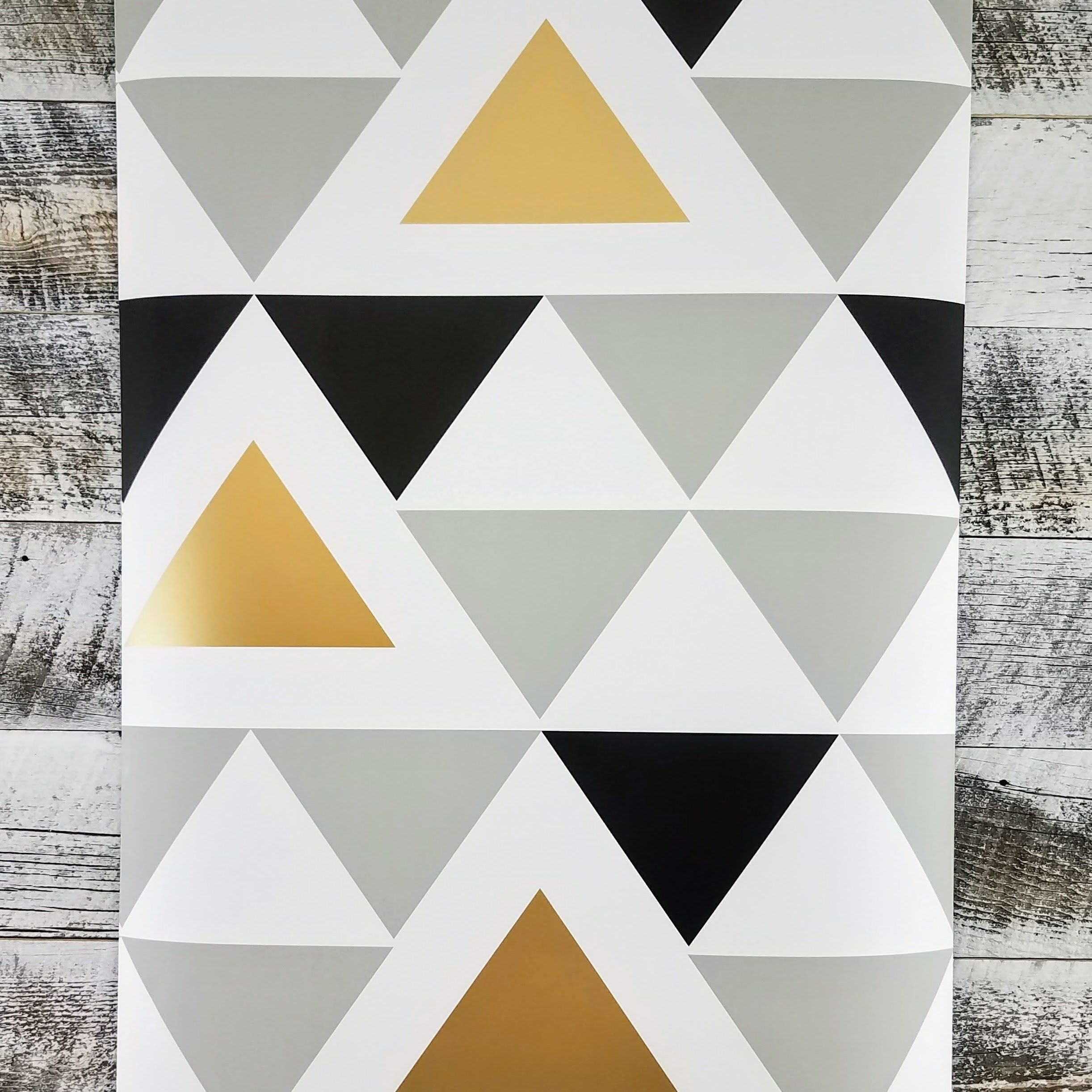 Aztec Black Gold Geometric Triangle Peel And Stick Wallpaper Peel And Stick Wallpaper Diy Wallpaper Geometric Triangle