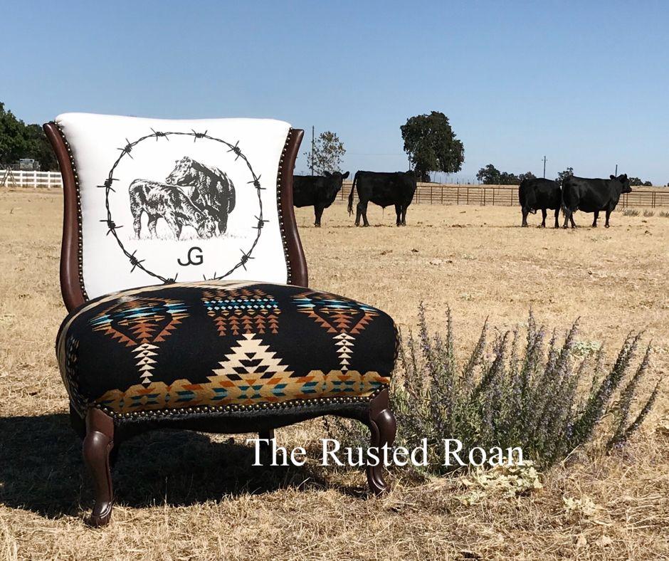 Custom Pendleton Cowhide Upholstered Western Chair Ranch House Decor Western Furniture Cowhide Furniture