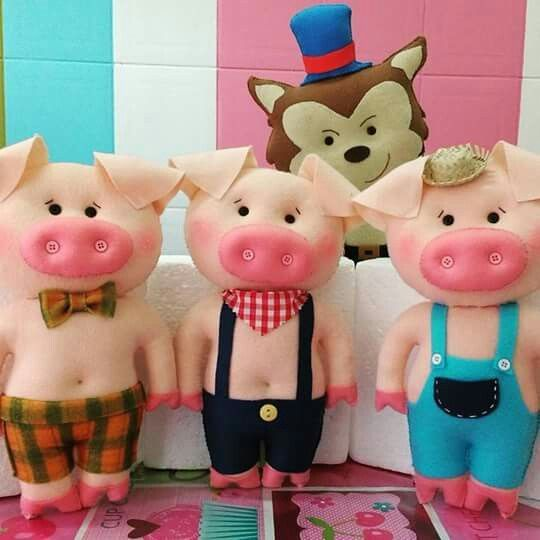 Armarios Homecenter Colombia ~ Resultado de imagem para moldes dos tres porquinhos em feltro Bonecas de arte Pinterest