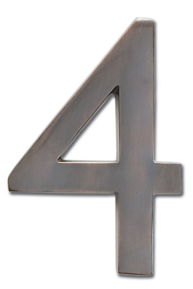 Solid Cast Brass 4 Inch Floating House Number Dark Aged Copper 4 Products Architectural Mailboxes Floating House House Numbers
