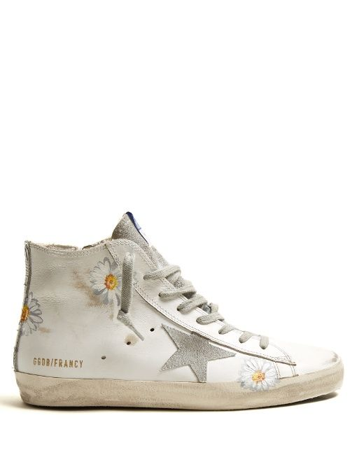 Francy high-top daisy-print leather trainers Golden Goose PQuLXVW