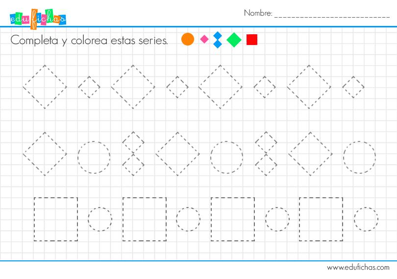 ficha grafomotricidad formas. Rombos, cuadrados y círculos.  #fichas #actividades #niños