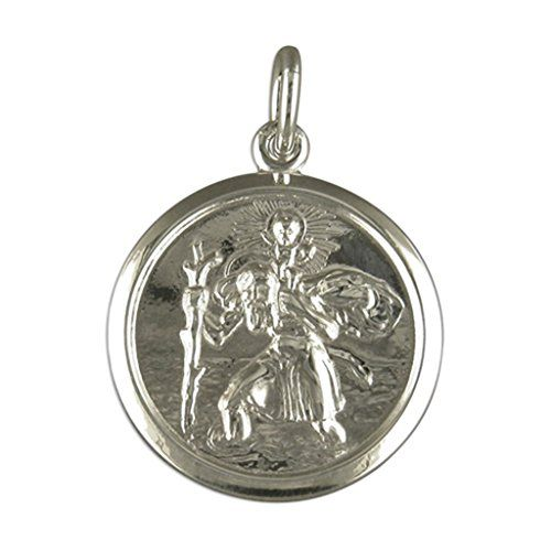 Mens Sterling Silver Medium Round St Christopher Pendant On A Black Leather Cord Necklace rVQBWUtG