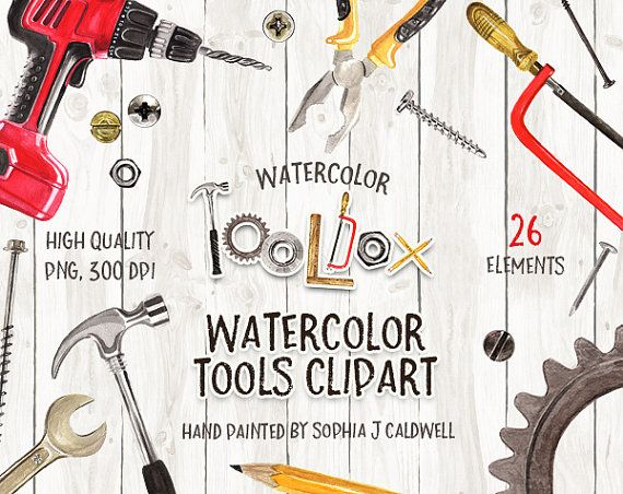 Tool Clipart Watercolor Graphics Instant Download Png Files