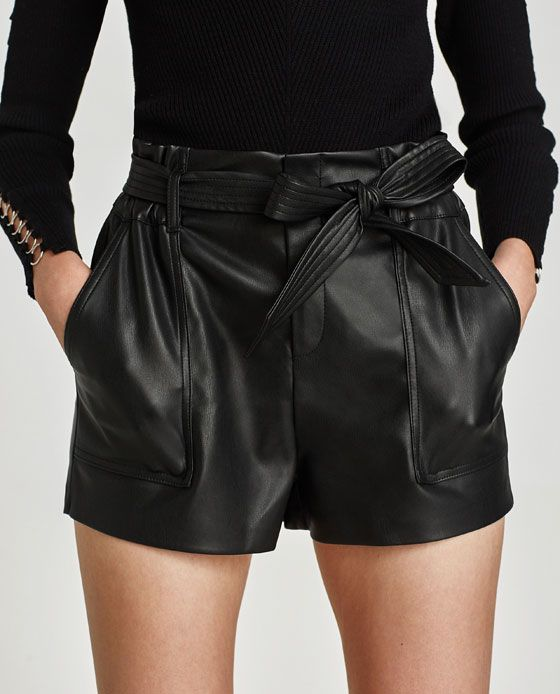df6dcbf414d Image 3 of FAUX LEATHER PAPER BAG BERMUDA SHORTS from Zara