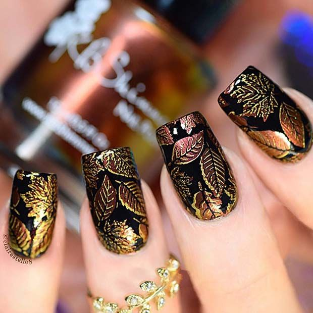 Black Nails With Fall Leaf Design For Fall Nail Design Ideas Nails