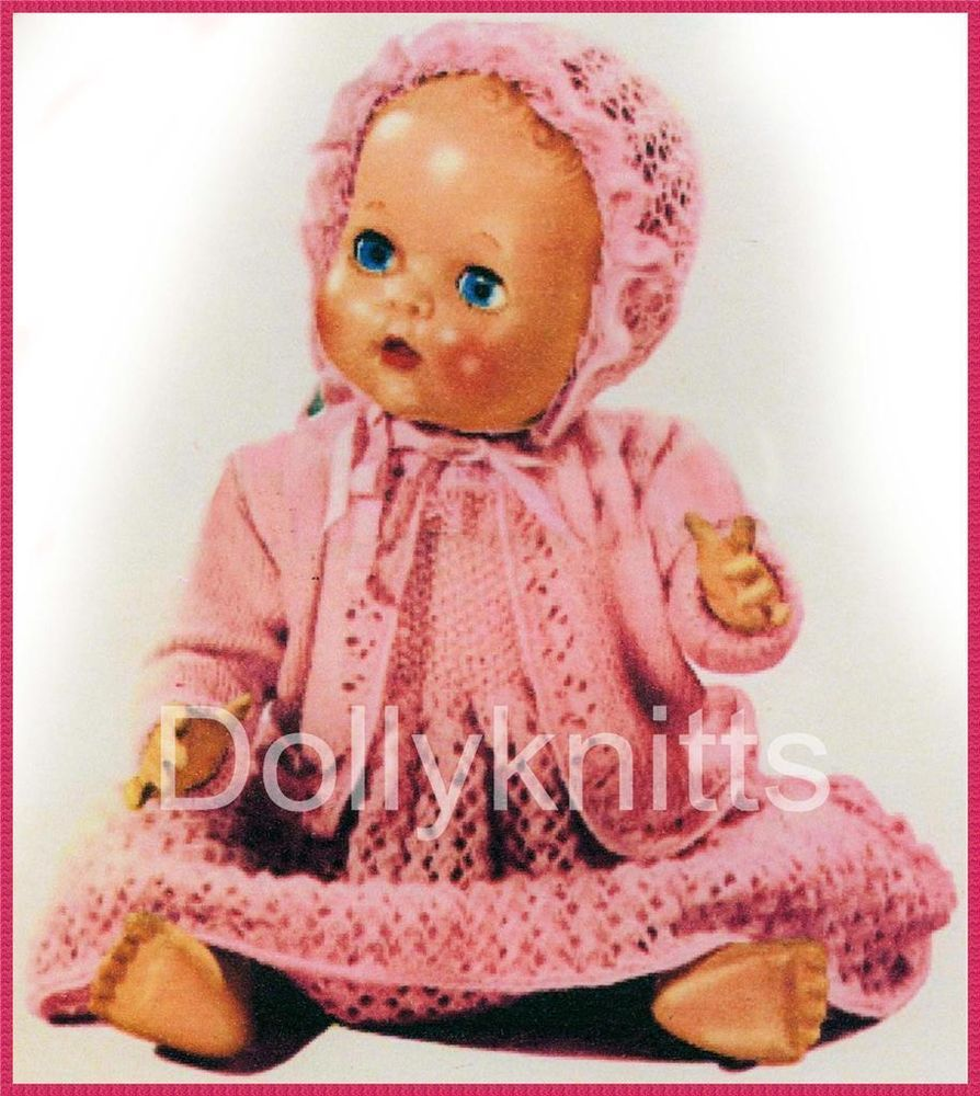 Knitting - Vintage pattern for  3 pce set to fit  12 - 16 inch dolls.