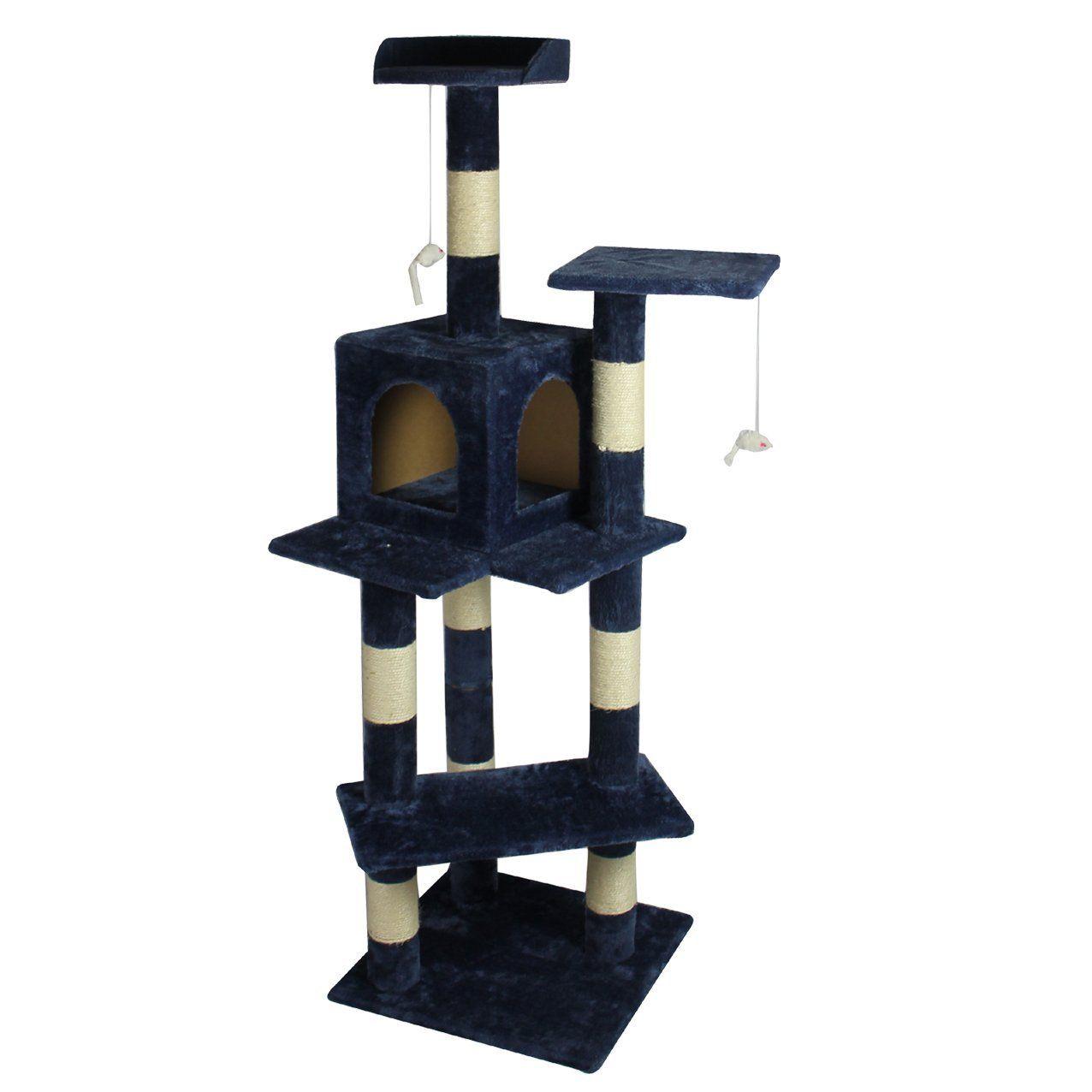 BestPet Cat Tree Condo Furniture Scratch Post Pet House, 60 Inch, Navy Blue