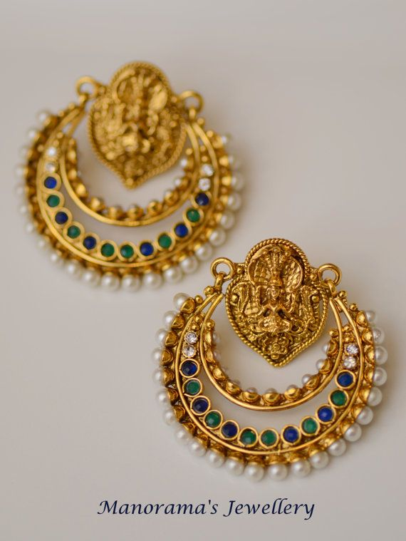 10c3022c715f9 Pitambari Earrings - Lovely Ramleela Earrings, Blue and Green Kundan ...