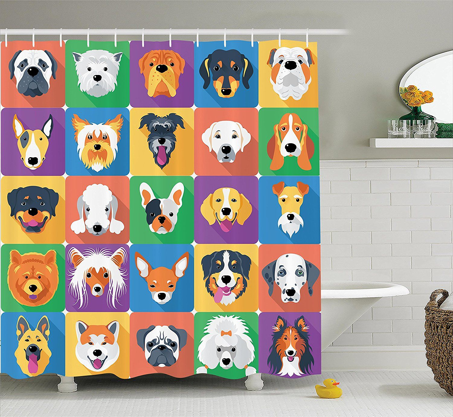 Amazon Long Shower Curtain Dog Lover Decor By Ambesonne Breeds Profiles