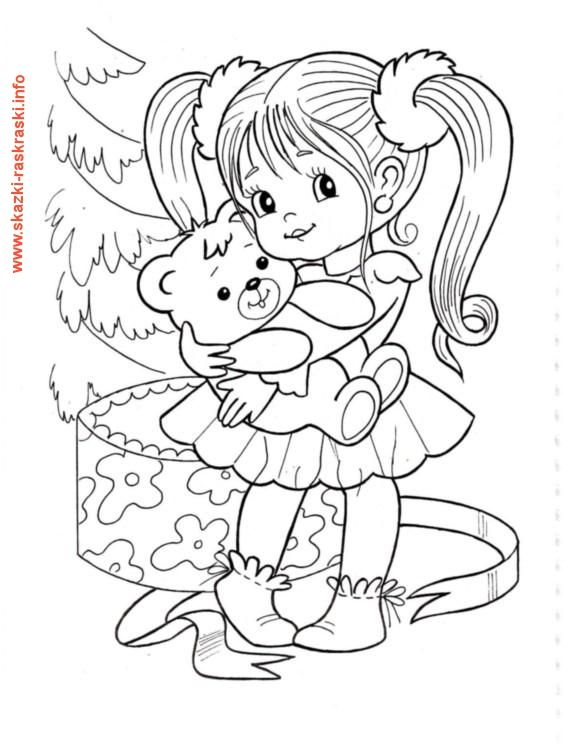Raskraska Devochka S Mishkoj Bebe Desenho Desenhos Infantis Ilustracoes