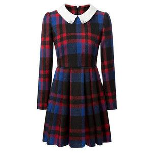 Preppy Style Peter Pan Collar Plaid Long Sleeve Worsted Dress For Women